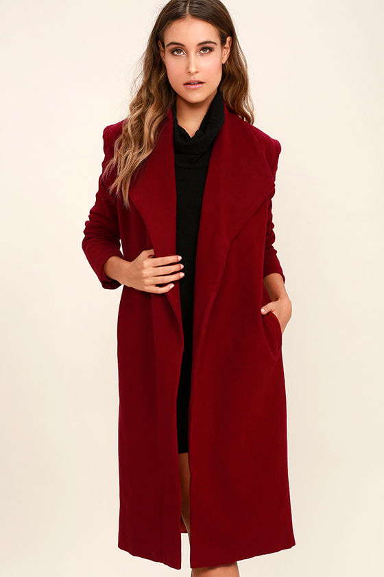 Chic Wine Red Coat - Felted Coat - Long Coat - $87.00