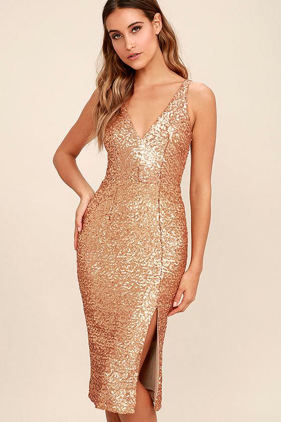 3fc5a1c41910 Dress the Population Camilla - Gold Sequin Dress - Midi Dress