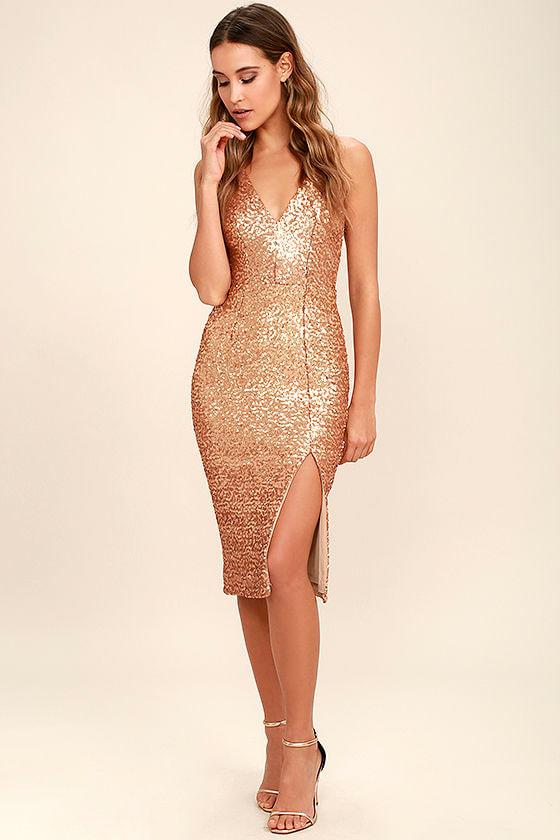 8ea24f9b Dress the Population Camilla - Gold Sequin Dress - Midi Dress
