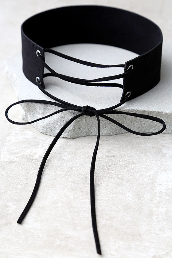 To The Limit Black Lace-Up Choker Necklace 2