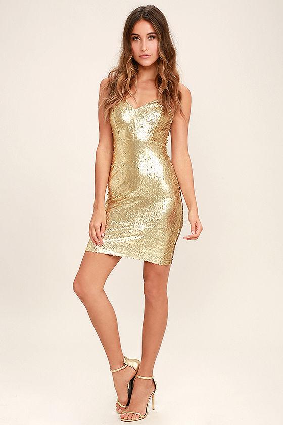 afab971b72ce Sexy Gold Dress - Sequin Dress - Bodycon Dress - $59.00
