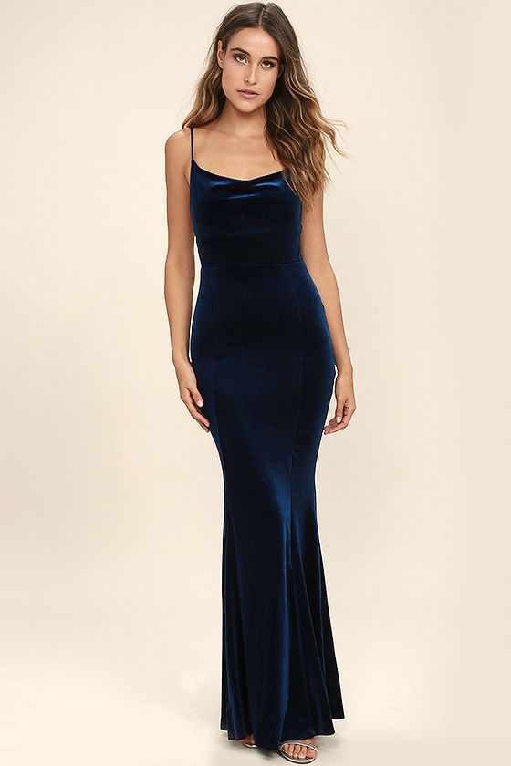 Sexy Velvet Dress - Navy Blue Dress - Mermaid Maxi Dress - Bodycon ...