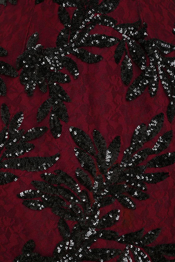 Dress the Population Jordyn Burgundy Lace Sequin Dress 6