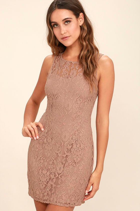 BB Dakota Thessaly - Mauve Dress - Lace Dress - Sleeveless Dress ...