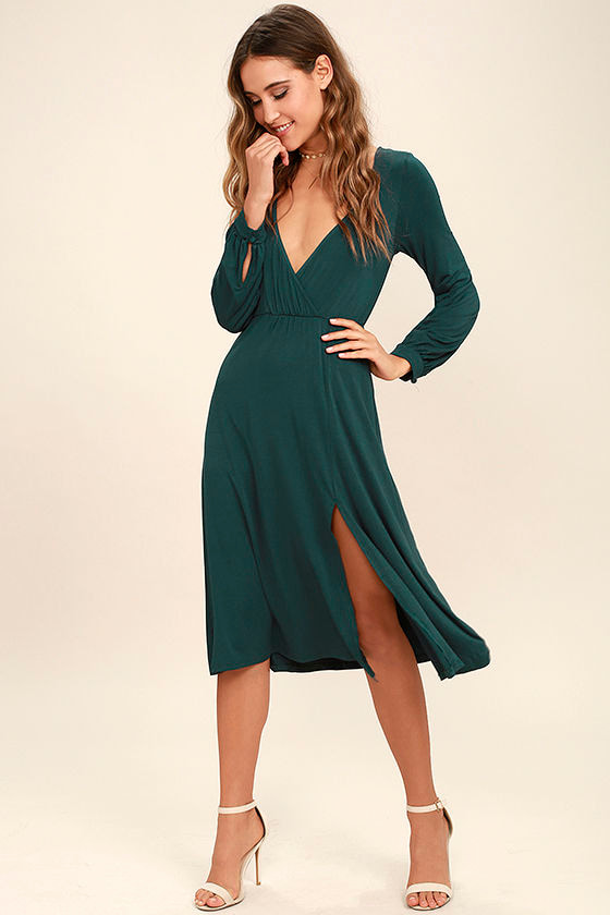 62ef6634ecbc Classic Forest Green Dress - Long Sleeve Dress - Midi Dress - $56.00