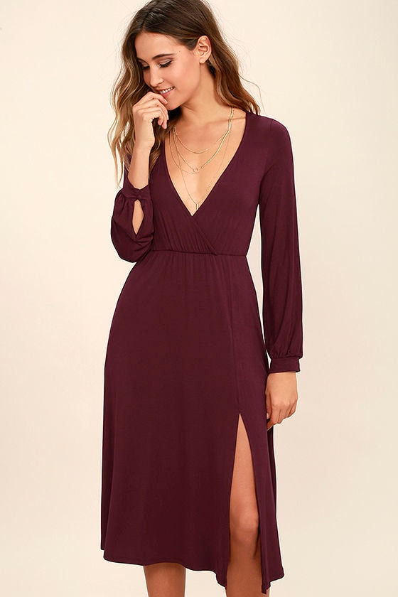 Classic Plum Purple Dress - Long Sleeve Dress - Midi Dress - $56.00