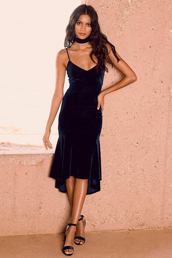 f0ad2ee61c91a Cute Navy Blue Dress - Blue Velvet Midi Dress - Mermaid Midi Dress ...