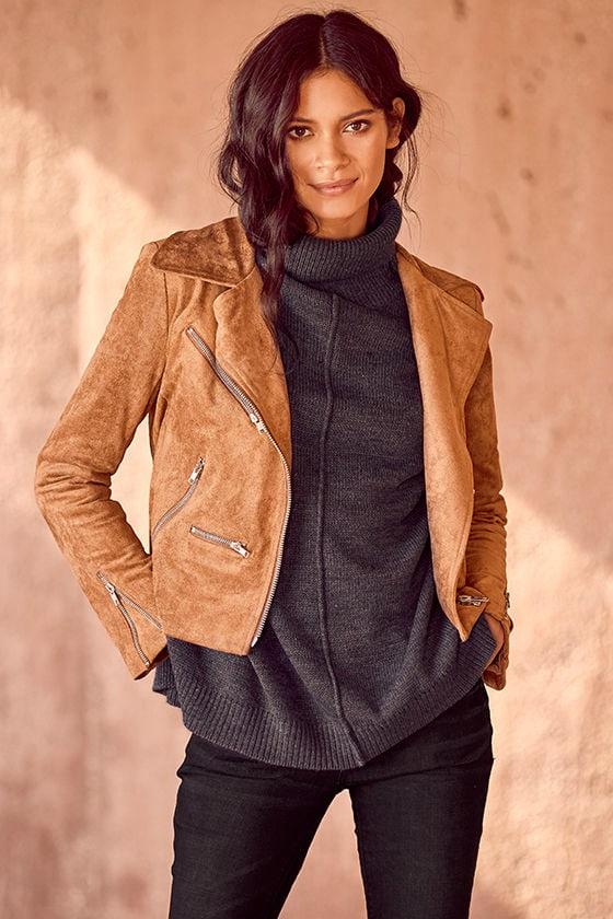 ab49a73b74 Suede Jacket - Moto Jacket - Tan Jacket