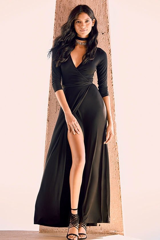 Garden District Black Wrap Maxi Dress 2