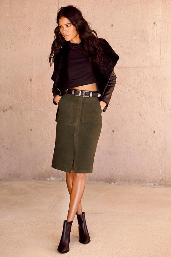 f1b1881ab0b1 Cute Olive Green Skirt - Felted Pencil Skirt - Stretchy Pencil Skirt ...