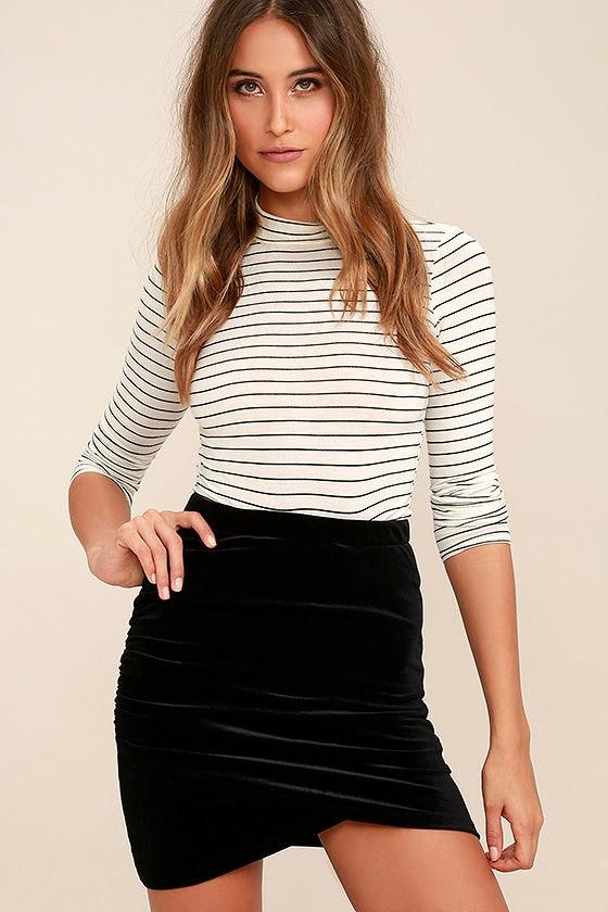 Sexy Black Skirt - Velvet Skirt - Bodycon Skirt - Ruched Skirt ...