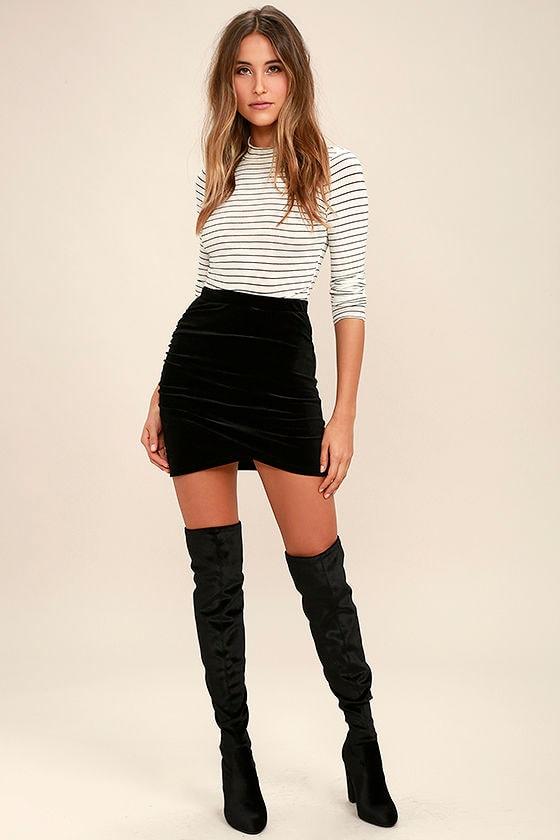 eb59a790d48167 Sexy Black Skirt - Velvet Skirt - Bodycon Skirt - Ruched Skirt - $29.00