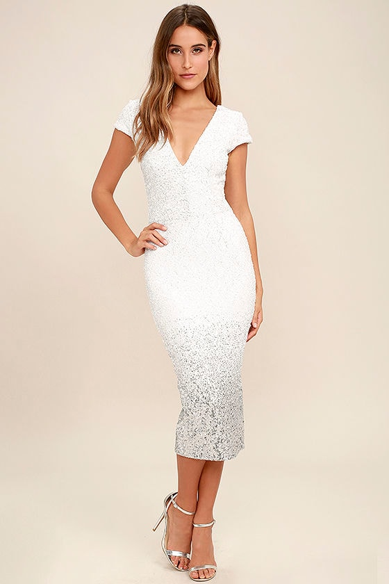 3ce87b50fc8a Dress the Population Cece - White Sequin Dress - Ombre Sequin Dress