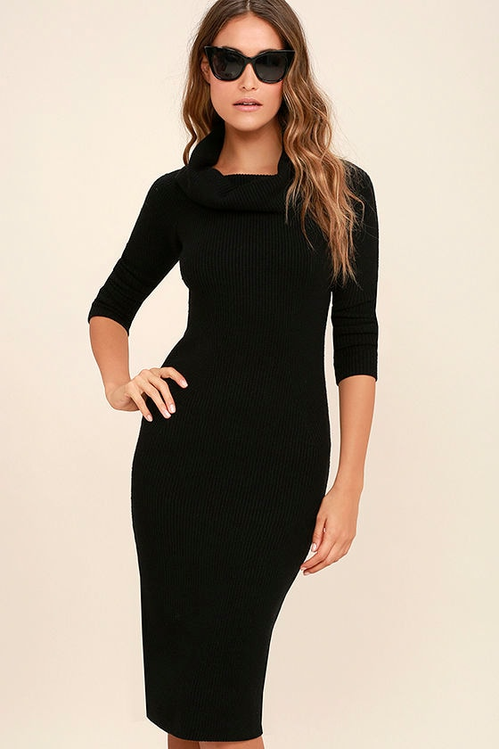 Hometown Bound Black Long Sleeve Sweater Dress