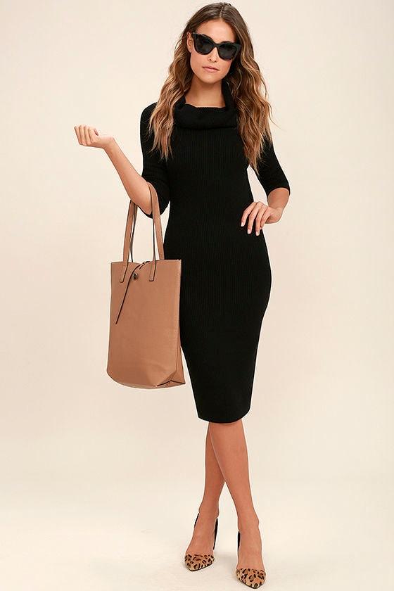 707d6539272 Cute Black Dress - Long Sleeve Dress - Sweater Dress - Cowl Neck ...