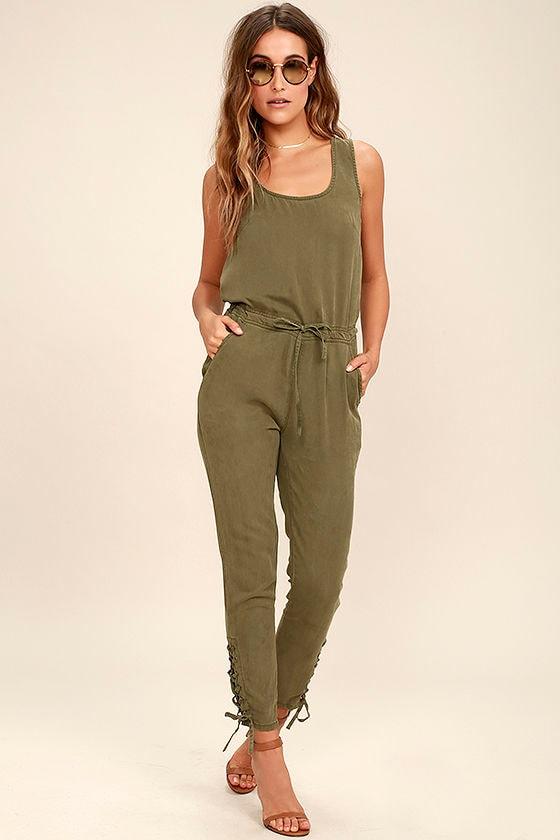 4b6c628933d Cool Olive Green Jumpsuit - Sleeveless Jumpsuit -  78.00