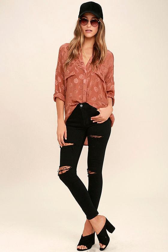 Aline Black Distressed Skinny Jeans 1