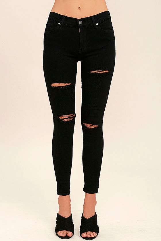 Chic Black Jeans - Distressed Jeans - Skinny Jeans - $88.00