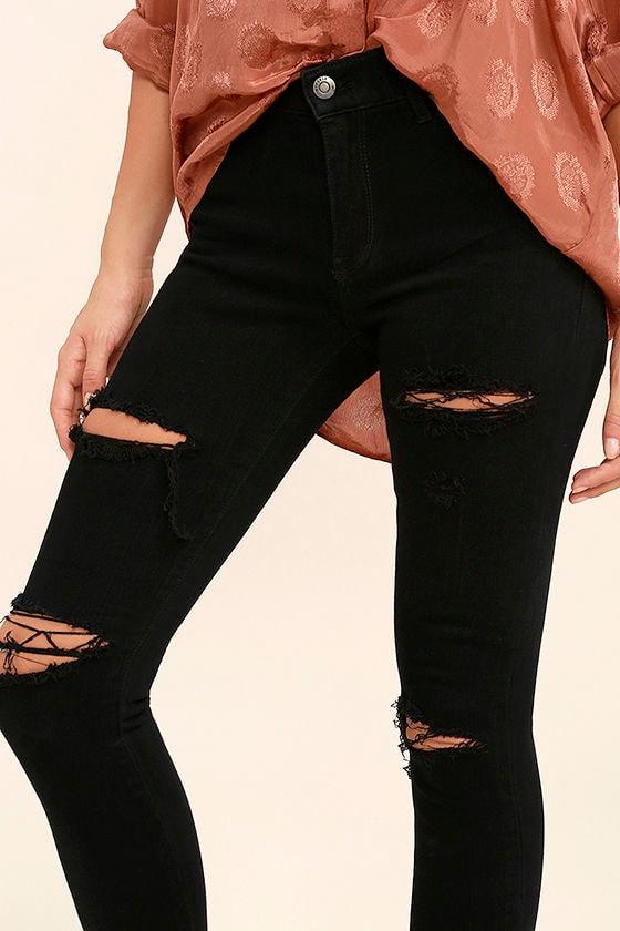 Aline Black Distressed Skinny Jeans 5