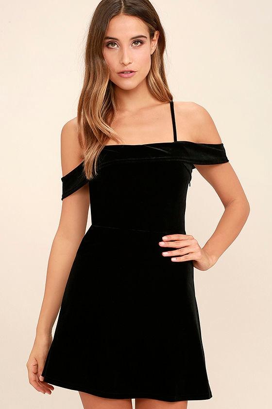 My Kind of Romance Black Velvet Off-the-Shoulder Dress 1