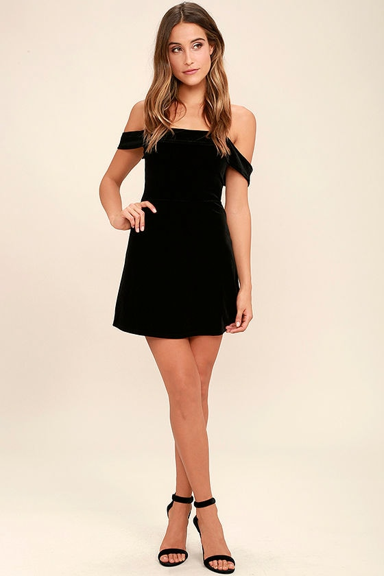 Cute Black Velvet Dress - Off-the-Shoulder Dress - Skater Dress ...