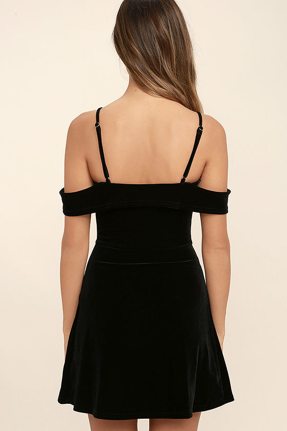My Kind of Romance Black Velvet Off-the-Shoulder Dress 4