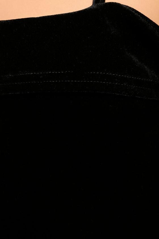 My Kind of Romance Black Velvet Off-the-Shoulder Dress 6