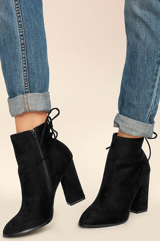 8a31b2632152 Chic Black Suede Booties - Ankle Booties - High Heel Booties -  37.00