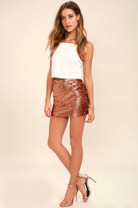 Sexy Rose Gold Skirt - Sequin Skirt - Mini Skirt - $44.00