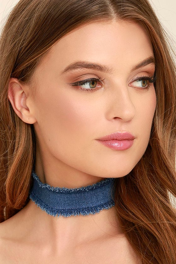 Denim Dame Blue Denim Choker Necklace 1