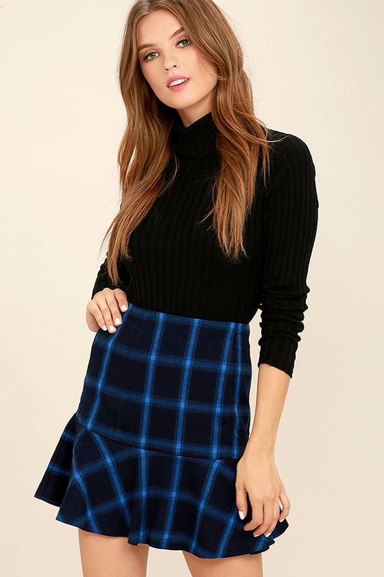 Cute Navy Blue Plaid Skirt Trumpet Skirt High Waisted Skirt 4900