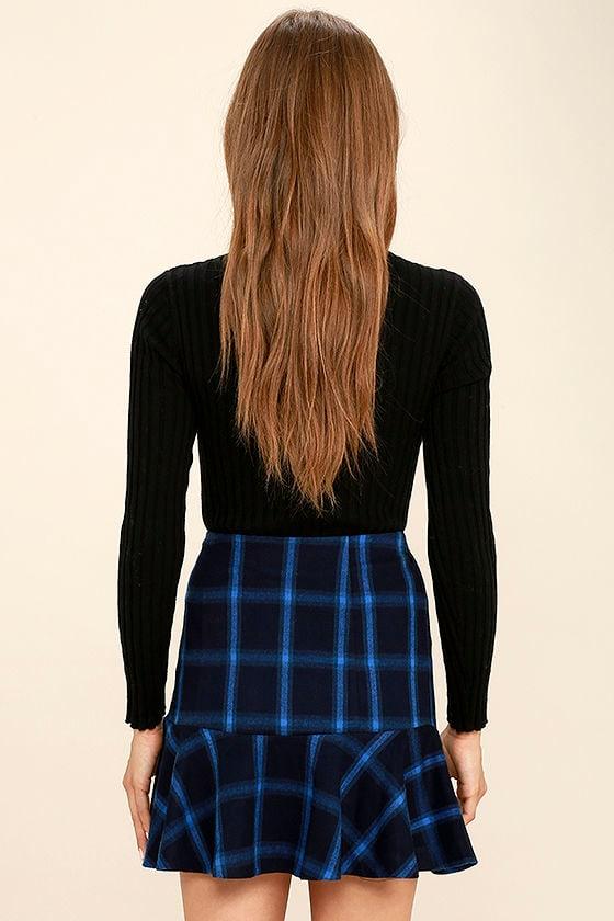 Cute Navy Blue Plaid Skirt - Trumpet Skirt - High-Waisted Skirt ...