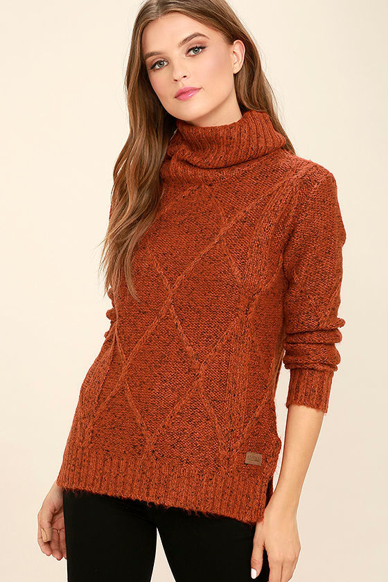 Element York Sweater Rust Orange Sweater Turtleneck