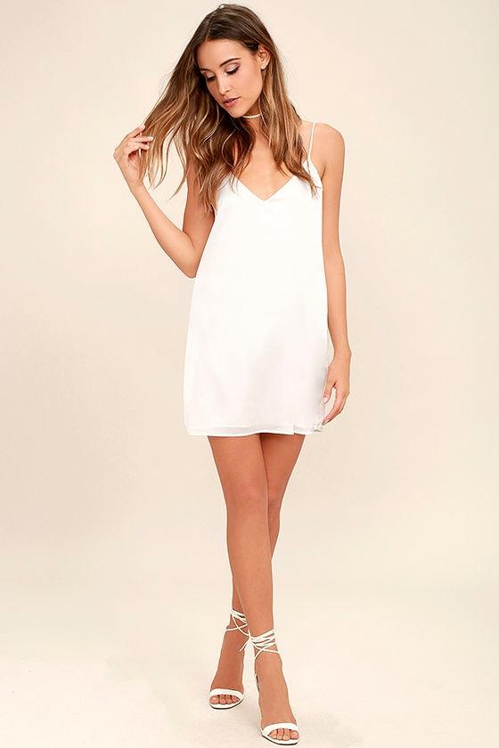 Sexy White Dress - Satin Dress - Slip Dress - LWD - $44.00