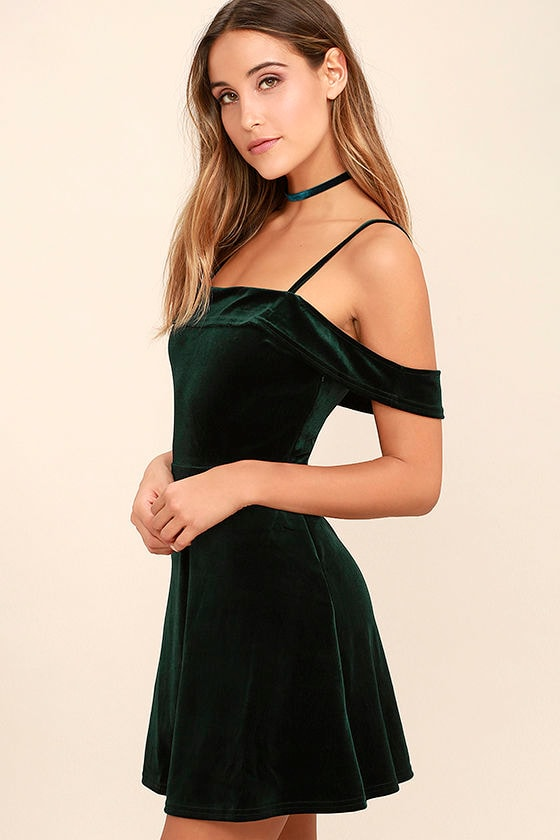 My Kind of Romance Dark Green Velvet Off-the-Shoulder Dress 3