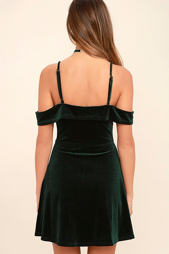 My Kind of Romance Dark Green Velvet Off-the-Shoulder Dress 4