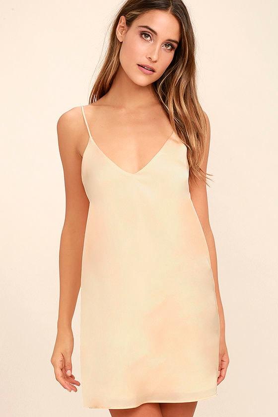 1fdc2a9cb9a6 Sexy Peach Dress - Satin Dress - Slip Dress - $44.00