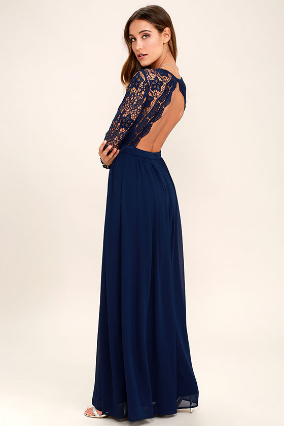 Lovely Navy Blue Dress - Maxi Dress - Lace Dress - Long Sleeve ...