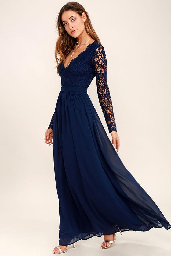 Lovely Navy Blue Dress - Maxi Dress - Lace Dress