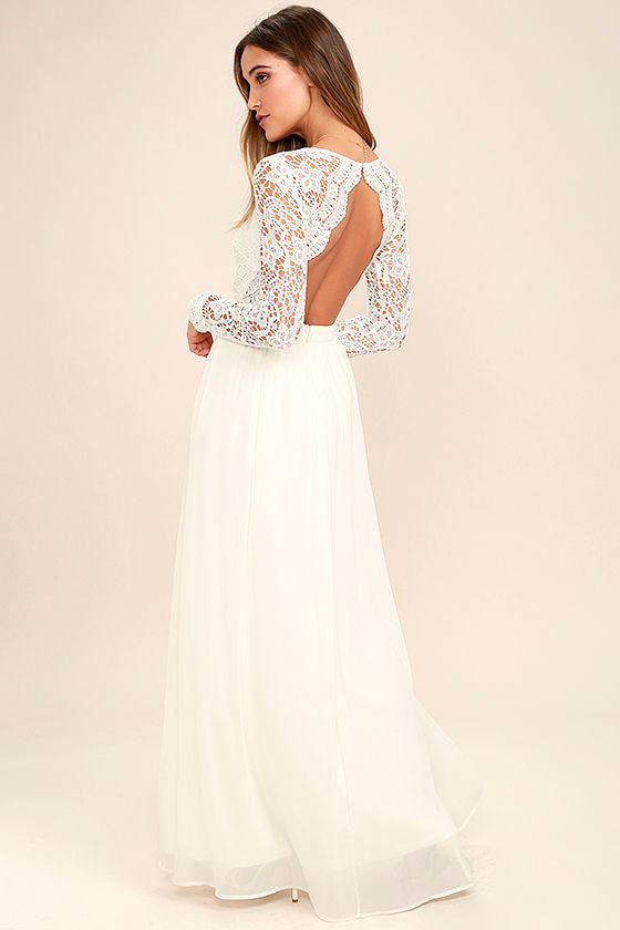 Lovely White Dress - Maxi Dress - Lace Dress - Long Sleeve ...