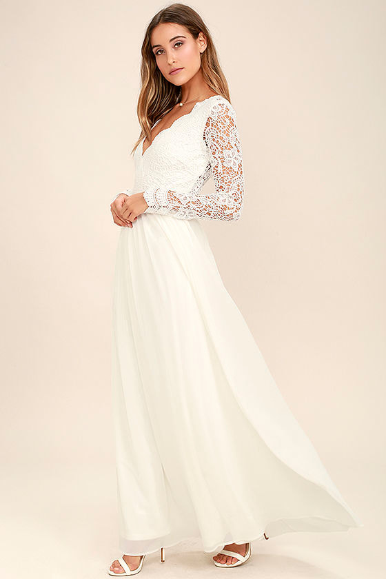 Lovely White Dress - Maxi Dress - Lace Dress - Long Sleeve Dress ...