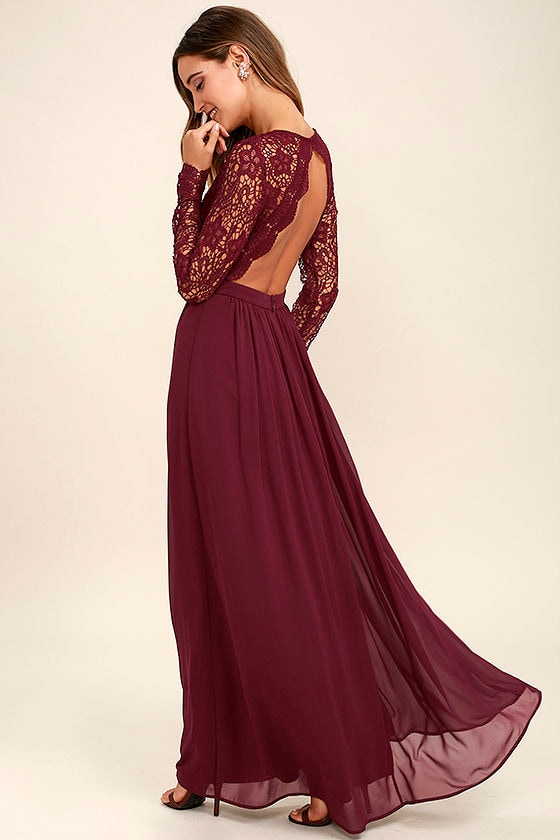 Lovely Burgundy Dress - Maxi Dress - Lace Dress - Long Sleeve ...