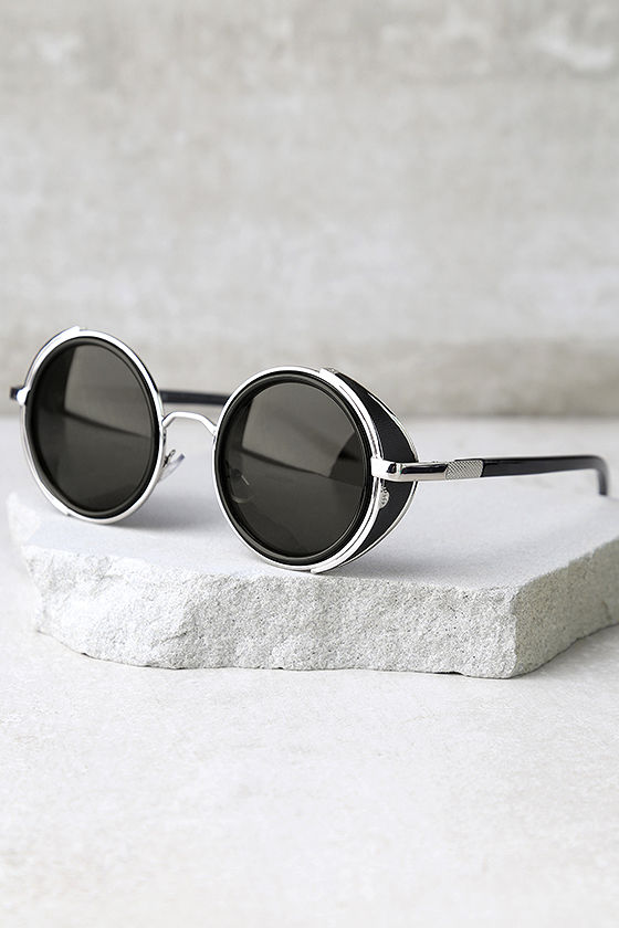 Perverse Madness Black and Silver Round Sunglasses 2