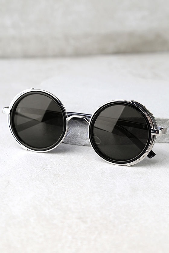 Perverse Madness Black and Silver Round Sunglasses 3