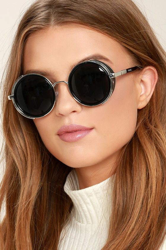 Perverse Madness Black and Silver Round Sunglasses 1