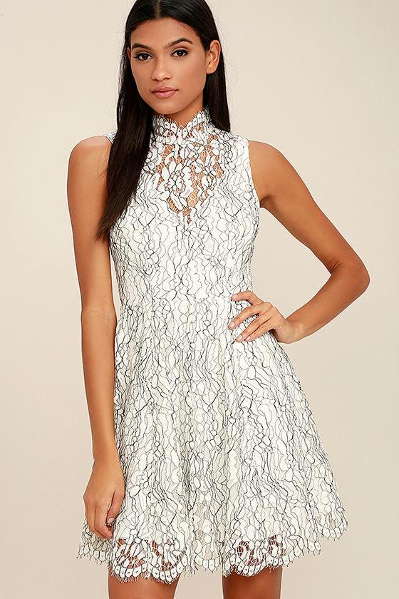 Keepsake Porcelain Dress - White Lace Dress - Skater Dress - Backless Dress  -  190.00 43ae150ee