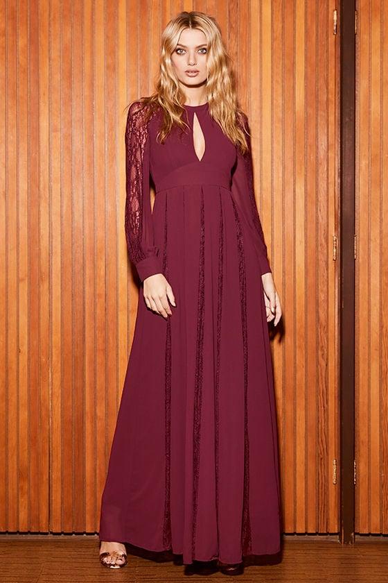 add52cd76f9 Lovely Burgundy Dress - Maxi Dress - Lace Dress - Long Sleeve Dress ...