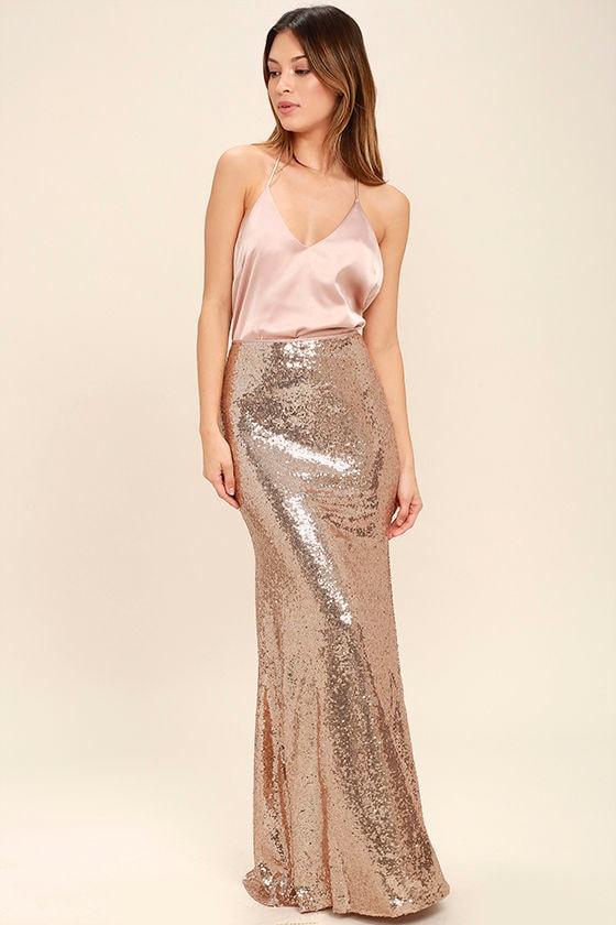 281f7942e6c Lovely Gold Skirt - Sequin Skirt - Maxi Skirt -  74.00