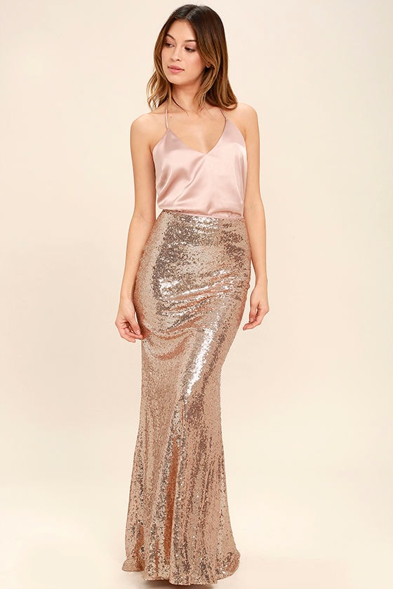 Effervescent Evening Gold Sequin Maxi Skirt 1