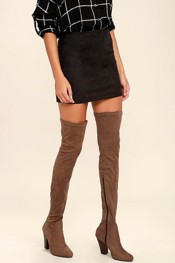 emelia mocha boots suede otk boots thigh high